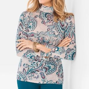 Chico's Paisley Lace-Print Mock-Neck Pullover